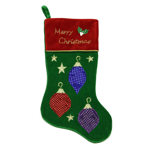 """20"""" Green and Red Embroidered Ornament Christmas Stocking with Cuff - IMAGE 1"""