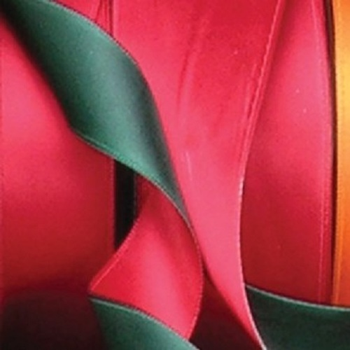 "Green and Red Two-Tone Double Face Wired Craft Ribbon 1.5"" x 27 Yards - IMAGE 1"