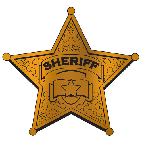 """Club Pack of 24 Gold and Black Foil Sheriff Badge Party Decors 12"""" - IMAGE 1"""