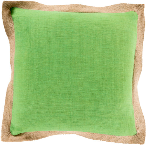 """18"""" Apple Green and Brown Contemporary Square Throw Pillow - Down Filler - IMAGE 1"""