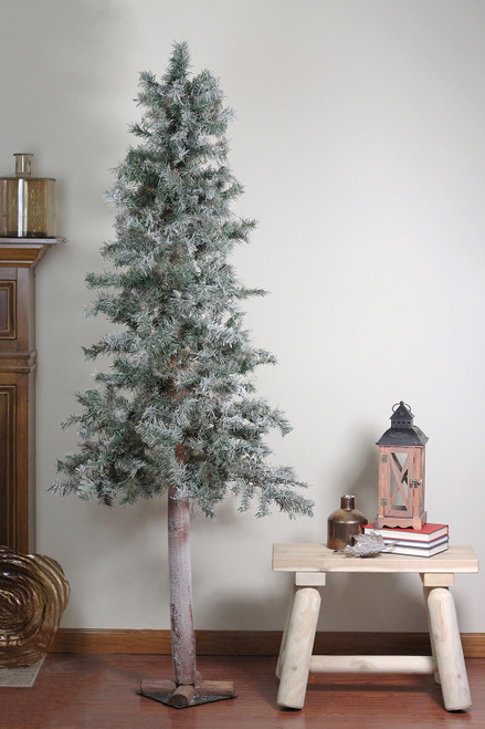 Frosted Slim Christmas Tree: Set Of 3 Slim Woodland Alpine Artificial Christmas Trees 5