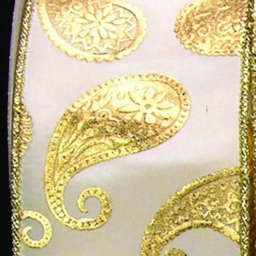 "White and Gold Paisley Wired Craft Ribbon 3"" x 20 Yards - IMAGE 1"