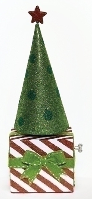 "20"" Green and Red Musical Rotating Christmas Cone Tree Tabletop Decor - IMAGE 1"