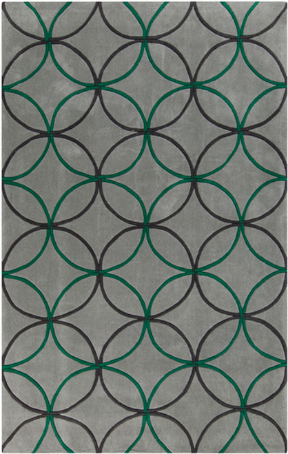 9' x 13' Emerald Green and Gray Hand Tufted Rectangular Area Throw Rug - IMAGE 1