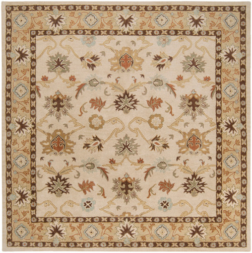 6' x 6' Beige and Sage Green Floral Hand Tufted Square Area Throw Rug - IMAGE 1