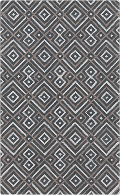 3.5' x 5.5' Charcoal Gray and Brown Hand Hooked Rectangular Area Throw Rug - IMAGE 1