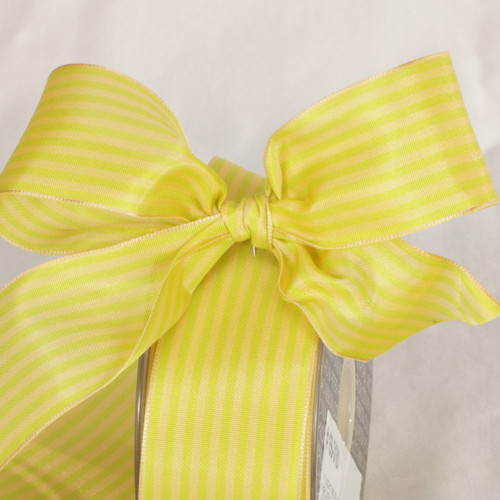 """Yellow and Green Striped Wired Craft Ribbon 1.5"""" x 54 Yards - IMAGE 1"""