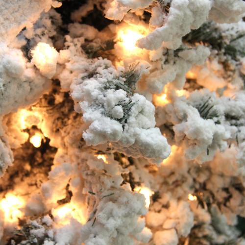 Pre Lit Flocked Artificial Christmas Trees: 6.5' Pre-Lit Heavily Flocked Pine Medium Artificial