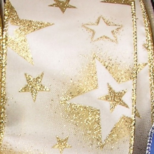 """Ivory and Gold Stars Christmas Wired Craft Ribbon 2.5"""" x 40 Yards - IMAGE 1"""