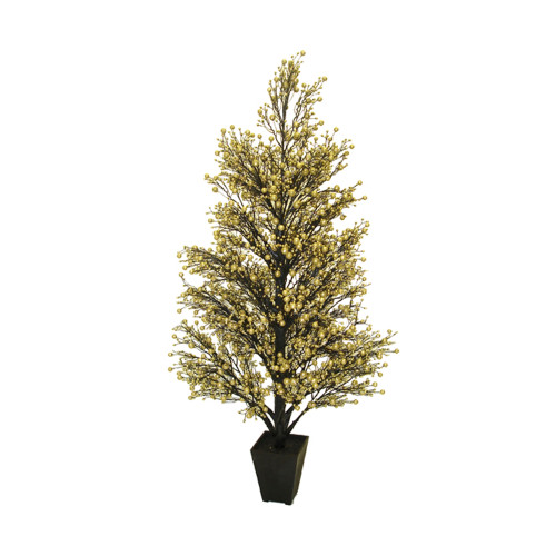 3.6' Potted Twinkle Glittered Berry Slim Artificial Christmas Tree - Unlit - IMAGE 1