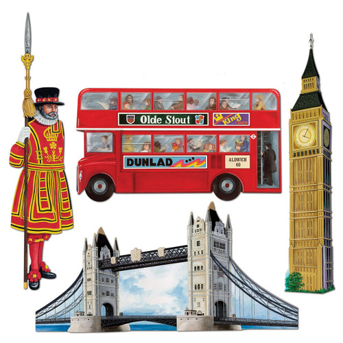 """Club Pack of 48 Red and Brown Iconic United Kingdom Cutout Party Decorations 26"""" - IMAGE 1"""