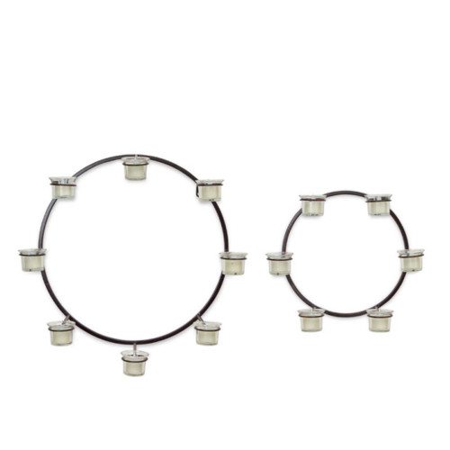 "Set of 2 Modern Circle Wall Mounted Black Metal Votive Candle Holders 18"" - IMAGE 1"