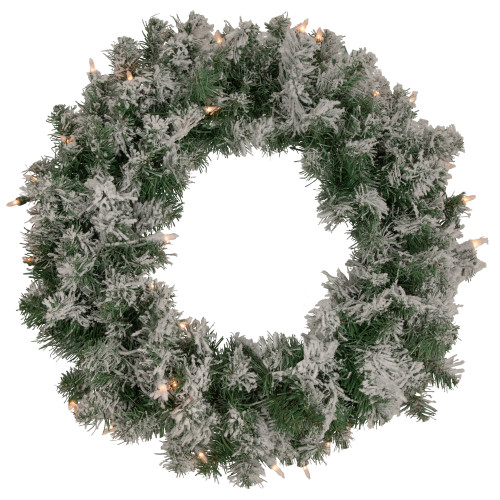 Pre-Lit Flocked Victoria Pine Artificial Christmas Wreath - 24-Inch, Clear Lights - IMAGE 1