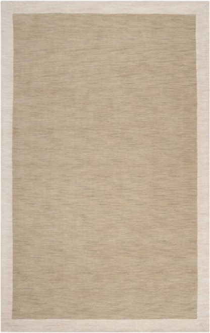 3.25' x 5.25' Simply Neutral Solid Olive & Taupe Hand Loomed and Hand Carved Wool Area Throw Rug - IMAGE 1