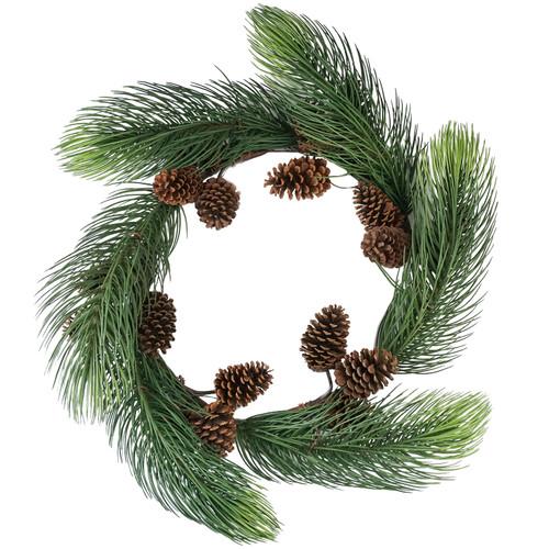 Long Pine Needle Artificial Christmas Wreath - 30-Inch, Unlit - IMAGE 1