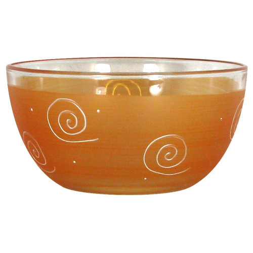 "Set of 2 Orange and White Hand Painted Glass Serving Bowls 6"" - IMAGE 1"