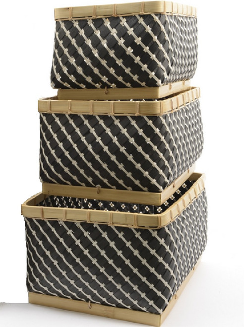 """Set of 3 Gunmetal Gray and White Striped Baskets 18"""" - IMAGE 1"""