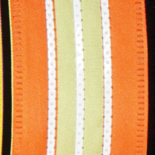 """Green and Orange Wired Craft Ribbon with Stripes 1.5"""" x 40 Yards - IMAGE 1"""