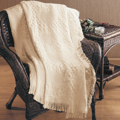 "Ivory Heart Motif Textured Basket Weave Fringed Throw Blanket 46"" x 60"" - IMAGE 1"