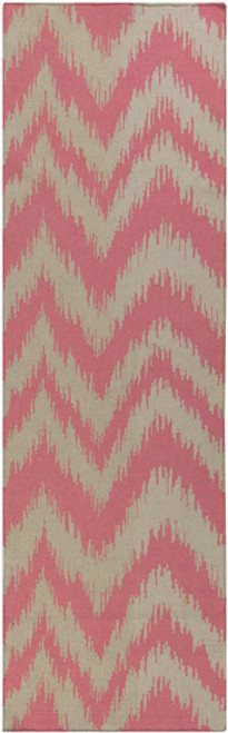 2.5' x 8' Chevron Shock Wave Pink and Gray Hand Woven Rectangular Wool Area Throw Rug Runner - IMAGE 1