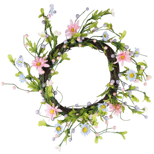 Daisy Twig Artificial Floral Wreath, Green and Pink 12-Inch - IMAGE 1