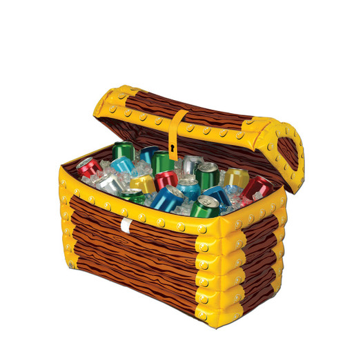 """24"""" Brown and Yellow Pirate Treasure Chest Inflatable Party Drink Cooler - IMAGE 1"""