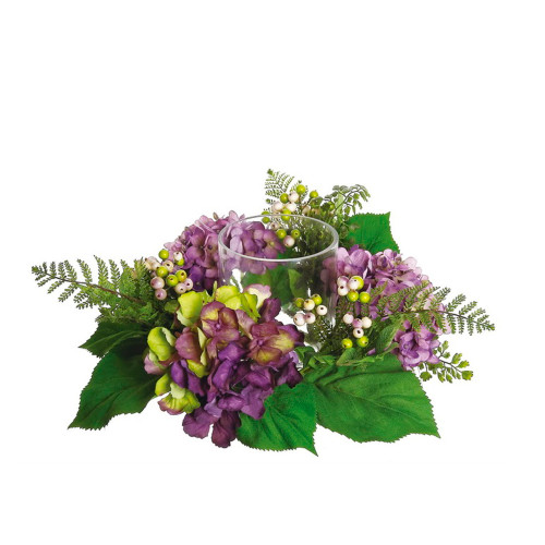"""16"""" Decorative Artificial Purple and Green Hydrangea and Berry Hurricane Glass Candle Holder - IMAGE 1"""