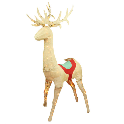 "60"" Beige and Red Pre-Lit Standing Reindeer Christmas Outdoor Decor - IMAGE 1"