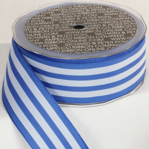"Blue and White Striped Wired Craft Ribbon 1.5"" x 27 Yards - IMAGE 1"