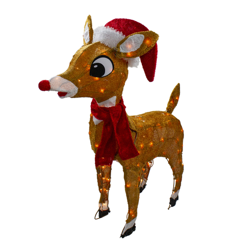 """29"""" Brown and Red Pre-Lit Soft Reindeer Christmas Outdoor Decor - Clear Lights - IMAGE 1"""