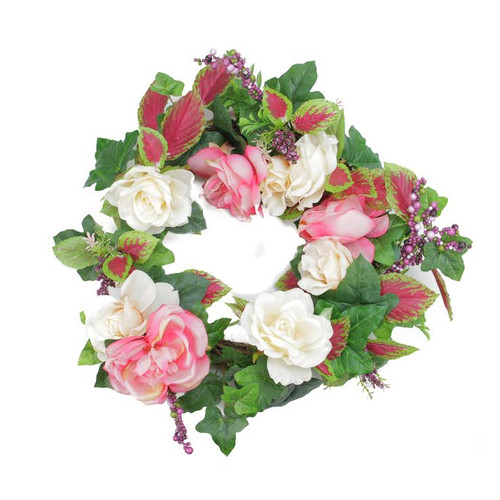 Rose and Berries Artificial Floral Wreath, White 22.5-Inch - IMAGE 1
