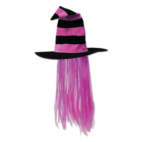 Pack of 6 Hot Pink and Black Halloween Witch Hat with Hair - IMAGE 1