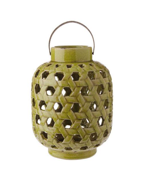 "12.5"" Tea Garden Caladium Leaf Green Glazed Terracotta Crackled Decorative Pillar Candle Lantern - IMAGE 1"