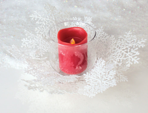 """14"""" Clear and White Snowflake Christmas Pillar Candle Holder - IMAGE 1"""