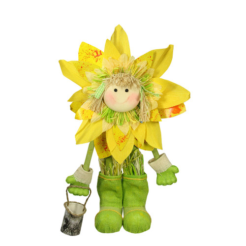 """20.5"""" Green and Yellow Spring Floral Standing Sunflower Girl Decorative Figure - IMAGE 1"""