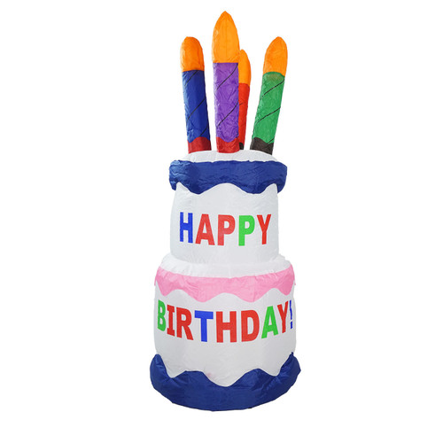 4' Inflatable Lighted Happy Birthday Cake Outdoor Decoration - IMAGE 1