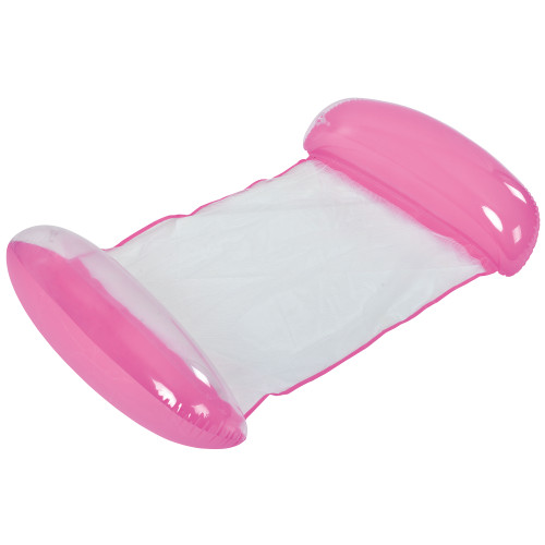 Inflatable Pink and White Swimming Pool Lounger Float, 61-Inch - IMAGE 1