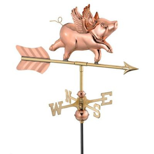 "26"" Gold and Bronze Flying Pig Outdoor Garden Weathervane - IMAGE 1"