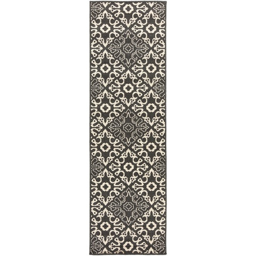 2.25' x 11.75' Black and White Contemporary Machine Woven Rectangular Outdoor Area Throw Rug Runner - IMAGE 1