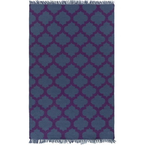 3.5' x 5.5'Imperial Blue and Royal Purple Hand Woven Area Throw Rug - IMAGE 1