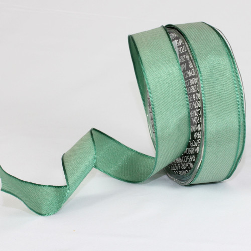 """Jade Green Solid Wired Craft Ribbon 1"""" x 54 Yards - IMAGE 1"""