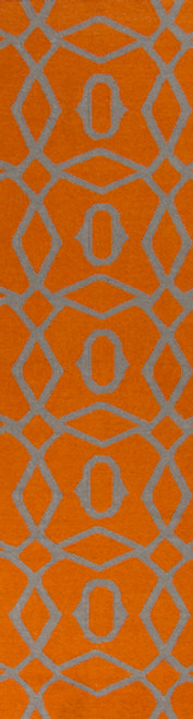 2.5' x 8' Geometric Burnt Orange and Gray Hand Woven Rectangular Wool Area Throw Rug Runner - IMAGE 1