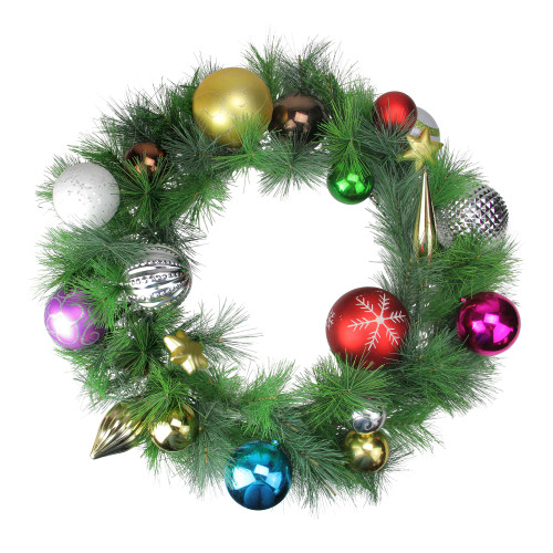 Green and Red Pine Artificial Christmas Wreath - 24-Inch, Unlit - IMAGE 1