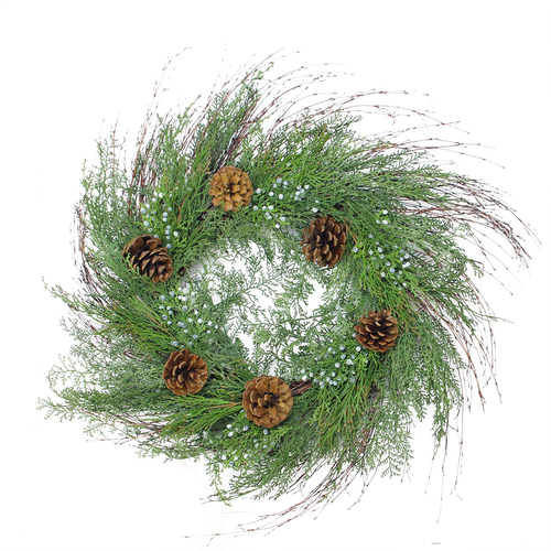 "30"" Mixed Cedar Pine Cone and Juniper Berry Artificial Christmas Wreath - Unlit - IMAGE 1"