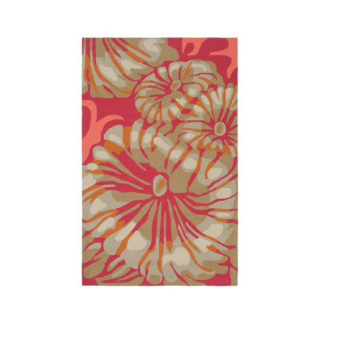 8' x 10' Red and White Hand Outdoor Area Throw Rug - IMAGE 1