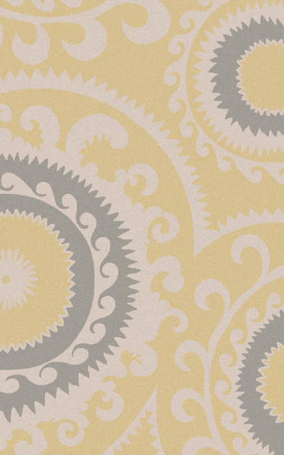 2' x 3' Pale Yellow and Gray Hand Woven Rectangular Wool Area Throw Rug - IMAGE 1