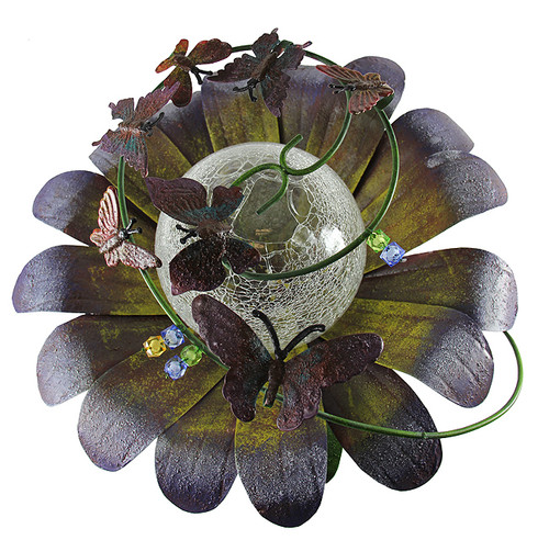 """15"""" Purple LED Lighted Solar Powered Flower Garden Lawn Stake - IMAGE 1"""