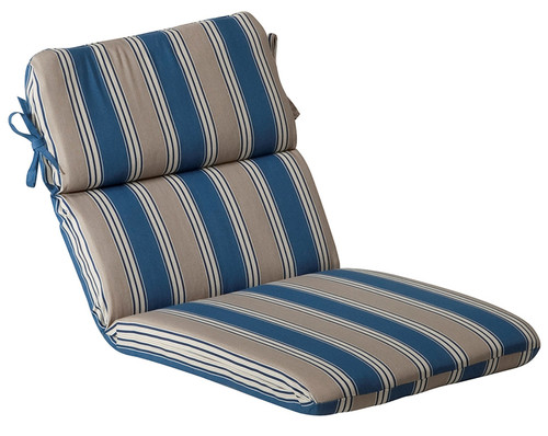 Outdoor Patio Furniture High Back Chair Cushion - Blue and Tan Stripe - IMAGE 1