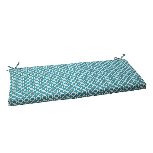 """45"""" Moroccan Mosaic Blue Outdoor Patio Furniture Bench Seat Cushion with Ties - IMAGE 1"""