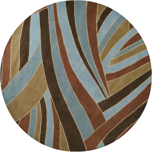9.75' Mediterranean Jungle Contemporary  Cameo Blue and Brown Round Wool Area Throw Rug - IMAGE 1